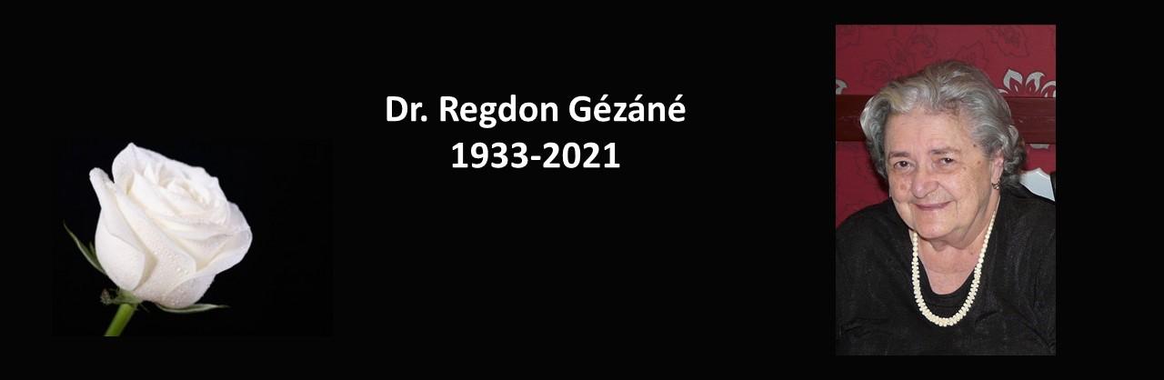 Elhunyt Dr. Regdon Gézáné nyugalmazott egyetemi adjunktus